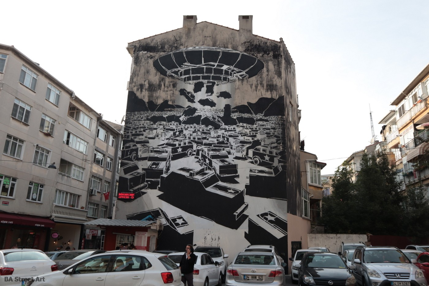 m city street artist poland mural istanbul karakoy ufo cars space invader