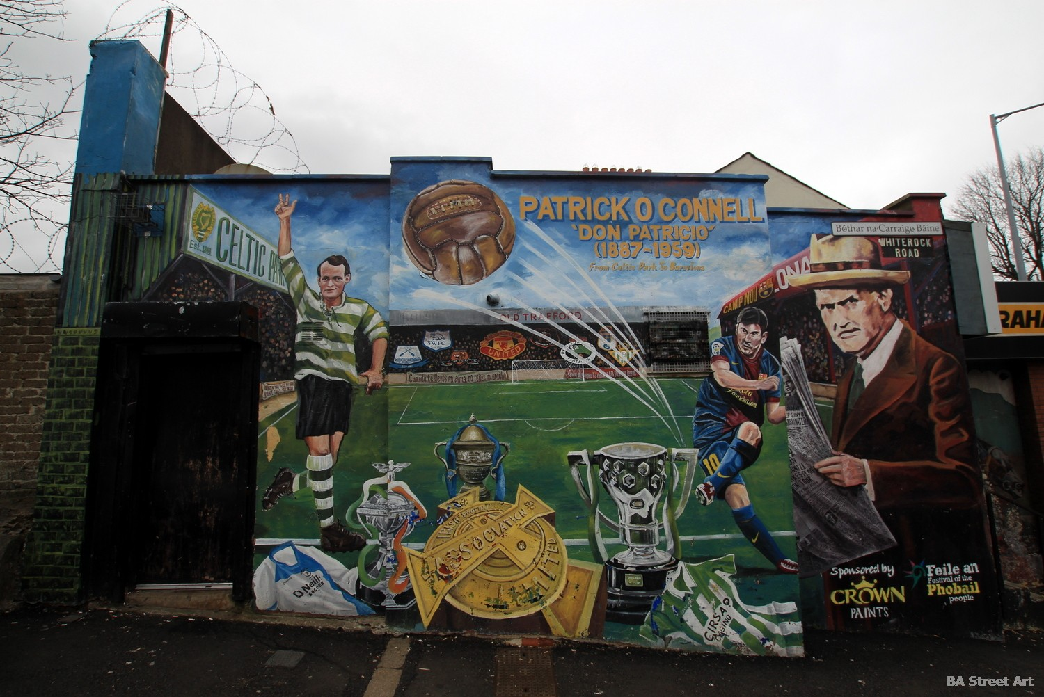 patrick o'connell belfast mural celtic manchester united paddy messi mural west belfast ireland