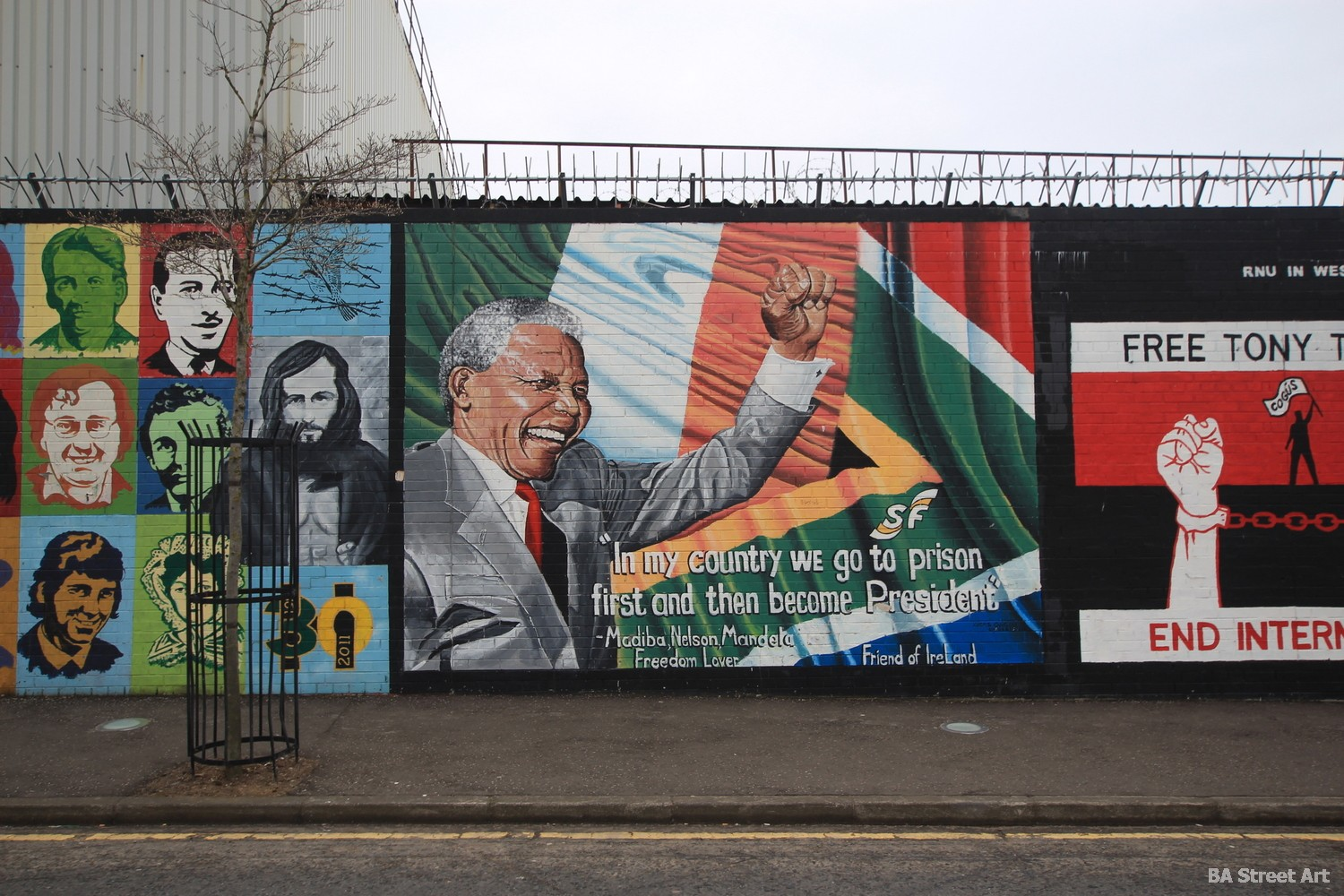 Nelson Mandela mural belfast peace wall northern ireland republican loyalist propaganda