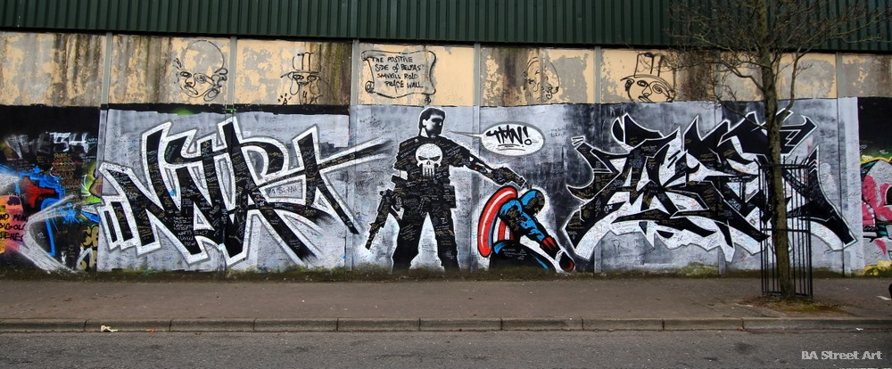 peace wall graffiti art pieces burners cartoon marvel super heroes northern ireland troubles