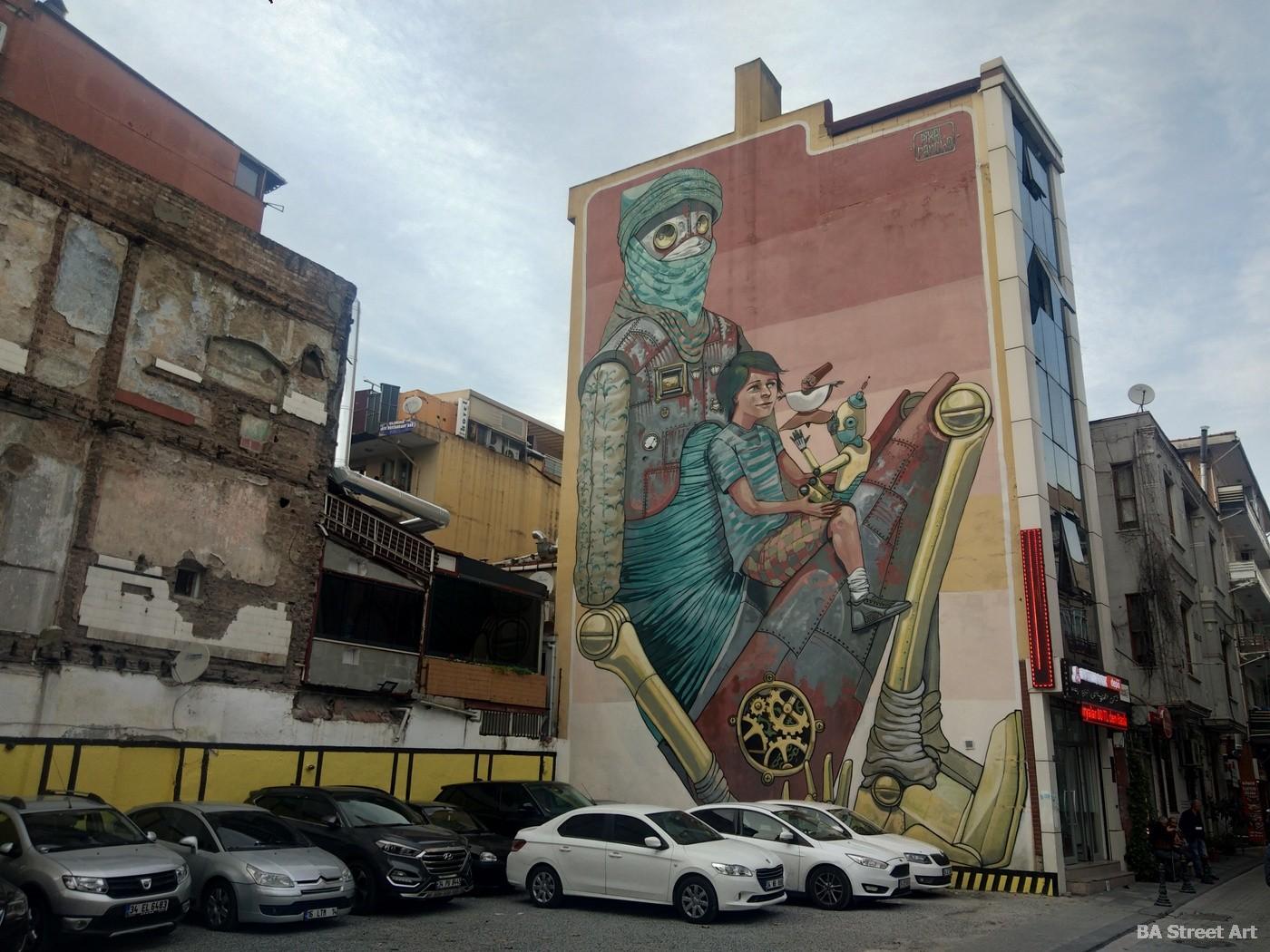 pixel pancho mural istanbul kadikoy street art festival graffiti turkey buenosairesstreetart.com