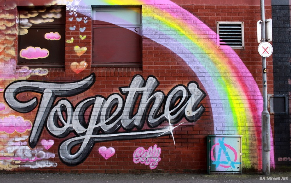 hit the north festival street art festival belfast together mural union street northern ireland graffiti rainbow juntos