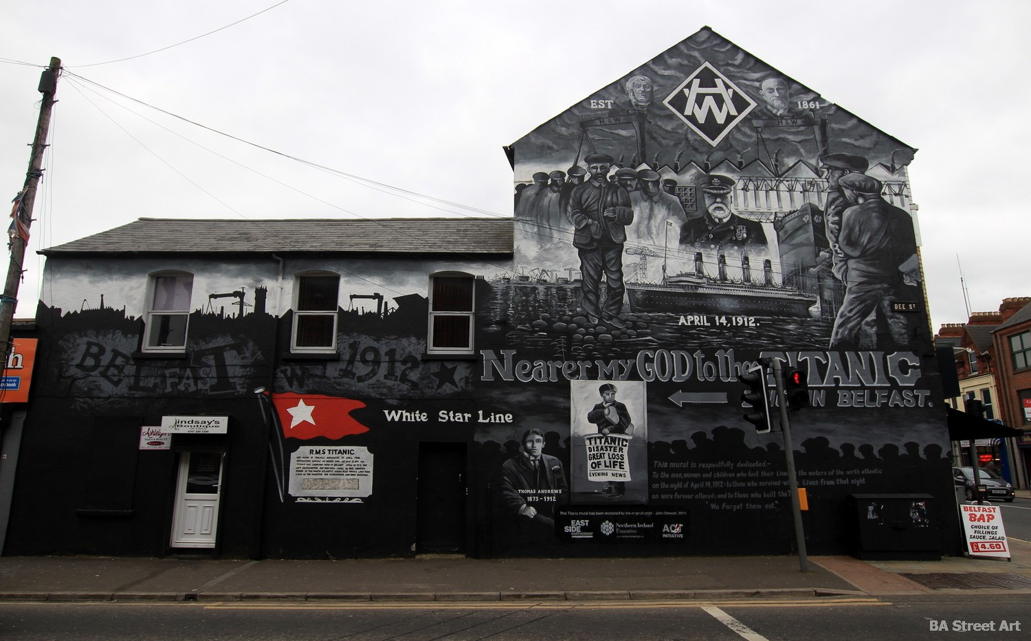 titanic mural belfast northern ireland harland and wolff ship liner boat street art white star line captain