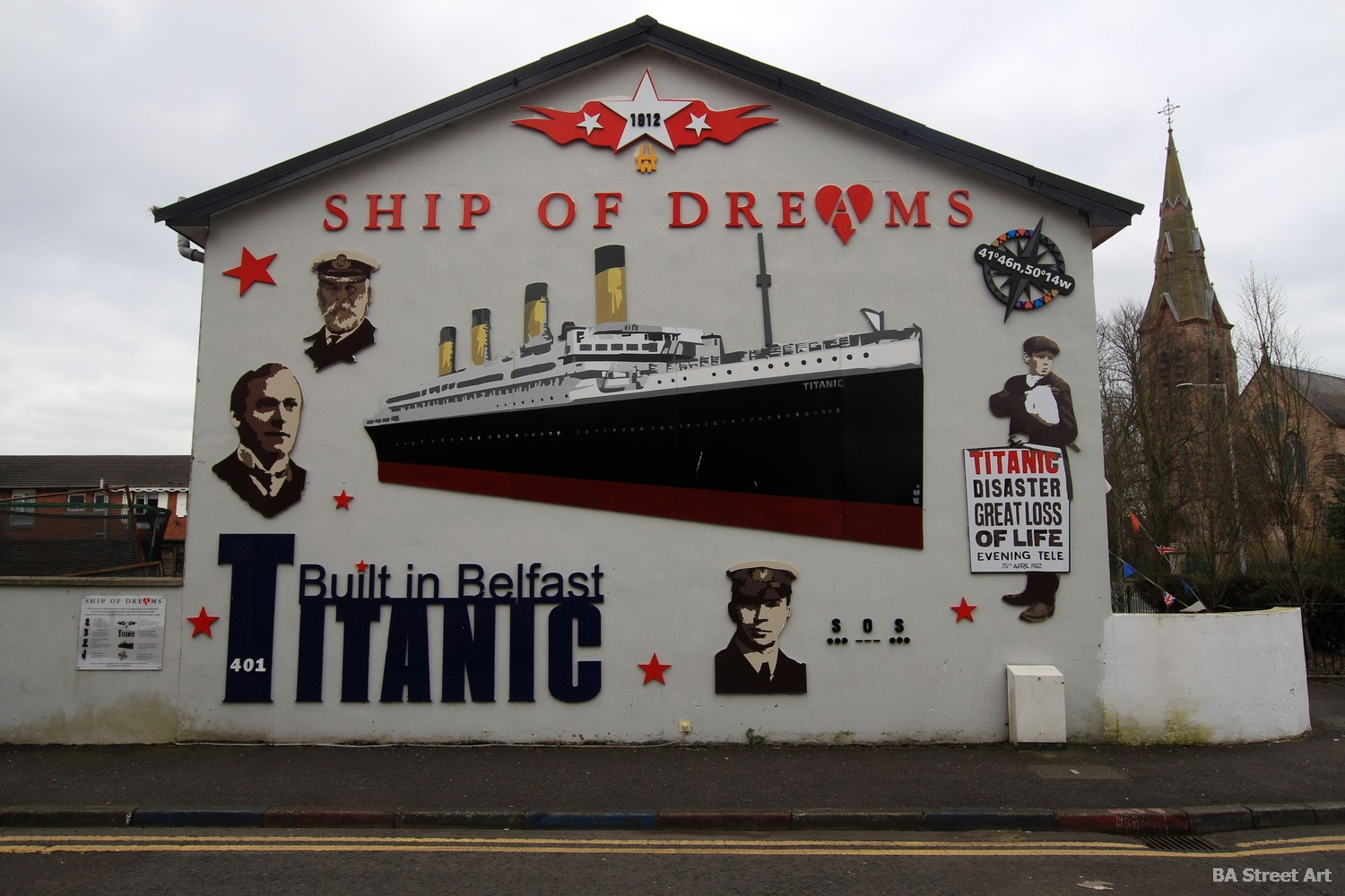titanic mural belfast ship of dreams liner built in belfast northern ireland captain street art murales